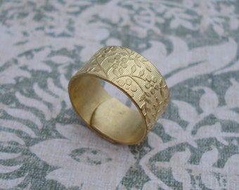 Brass Adjustable 9.5mm Floral Ring Band (3 pieces)