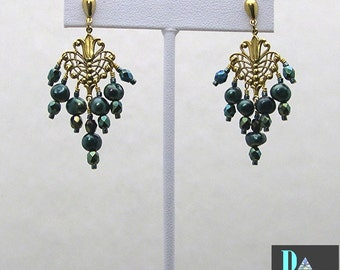 Deep Teal Pearl Chandelier Earrings