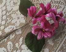 Millinery Flowers 5 Velvet Violets Hand Made In Czech Republic Deep Pink Ombre