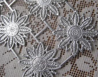 Dresden Trim Silver Snowflakes Medallions Halos Made In Germany 8 Die Cuts Christmas