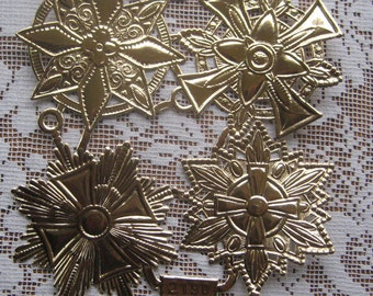 Dresden Trim 4 Jumbo Antique Gold Paper Foil Medallions Halos Stars Germany 4 Die Cuts Christmas