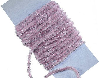 Chenille And Silver Tinsel Cording 5 Yards Made In USA Pale Pink Rayon