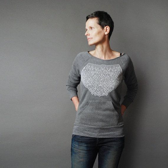 SALE Gray Sweatshirt for Women - Winter Fashion Eco Fleece Pullover - Modern Geometric Lace Design