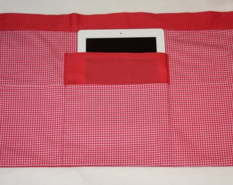 Vendor Waist Half Apron Teacher Craft iPad Pink Coral Gingham Fabric (4 Pockets)