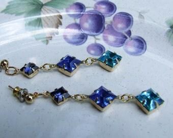 Swarovski Blue Ombre Earrings, color block dangles