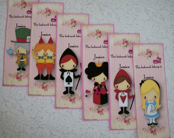 ALICE in WONDERLAND- Set of 6 Bookmarks - Personalized - Made to order - Stocking Stuffers - AL 449