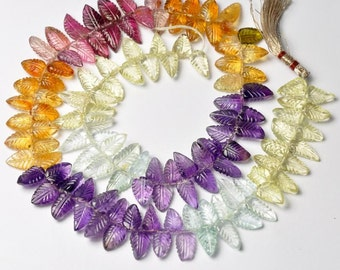 Tourmaline Citrine Amethyst Aquamarine Lemon Quartz Carved Leaf Briolette Beads 16 inch strand