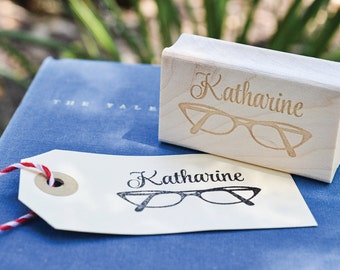 Name Rubber Stamp - Customized Stamp - Personalized Stamp - Eyeglasses