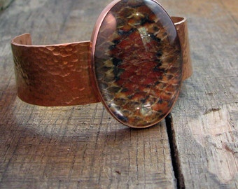 Hammered Copper Snakeskin Cuff - Quartz Cabochon with Natural Snakeskin - MADE TO ORDER