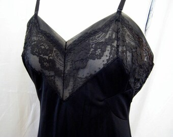 Black Full Vintage Slip with Lace