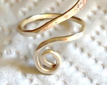 Silver Hammered Goddess Spiral Ring