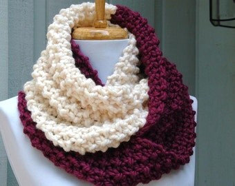 Purple Berry and Cream Colorblock Knit Scarf, Chunky Scarf, Hand Knit Infinity Scarf, Women's Scarf, Knitted Scarf, Women's Winter Scarf