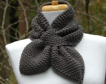Hand Knit Keyhole Scarf in Charcoal Gray - The Original Stay Put Scarf II - Pull Through Scarf, Women's Knitted Scarf, Bow Scarf, Neckwarmer
