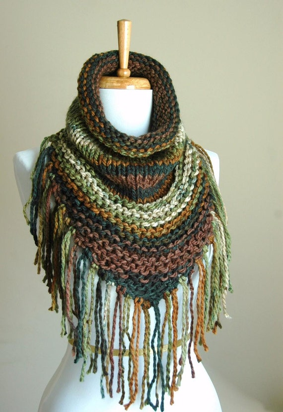 Knitting Pattern Triangle Head Scarf : Brown Green Knit Triangle Cowl with Fringe Knit Scarf Chunky