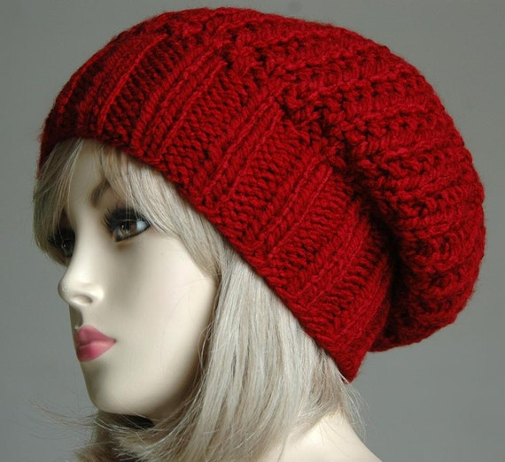 Red Slouchy Hat, Slouchy Beanie Hat, Oversized Beanie, Chunky Knit Hat, Hand Knit Women's Winter Hat, Knitted Hat, Reversible Hat, Vegan Hat