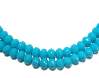 3x4mm Neon Turquoise glass beads 50pcs