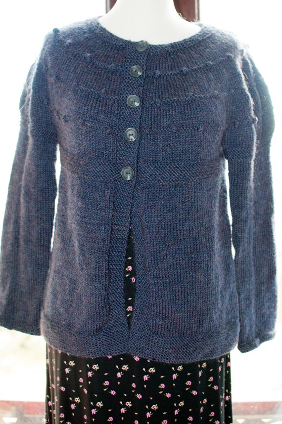Handknitted Cardigan in Navy