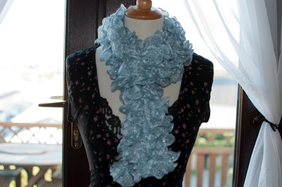 Handknitted Ruffles Scarf in Pale Blue