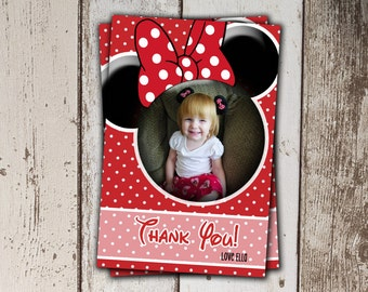Red Minnie Thank You Cards with Photo