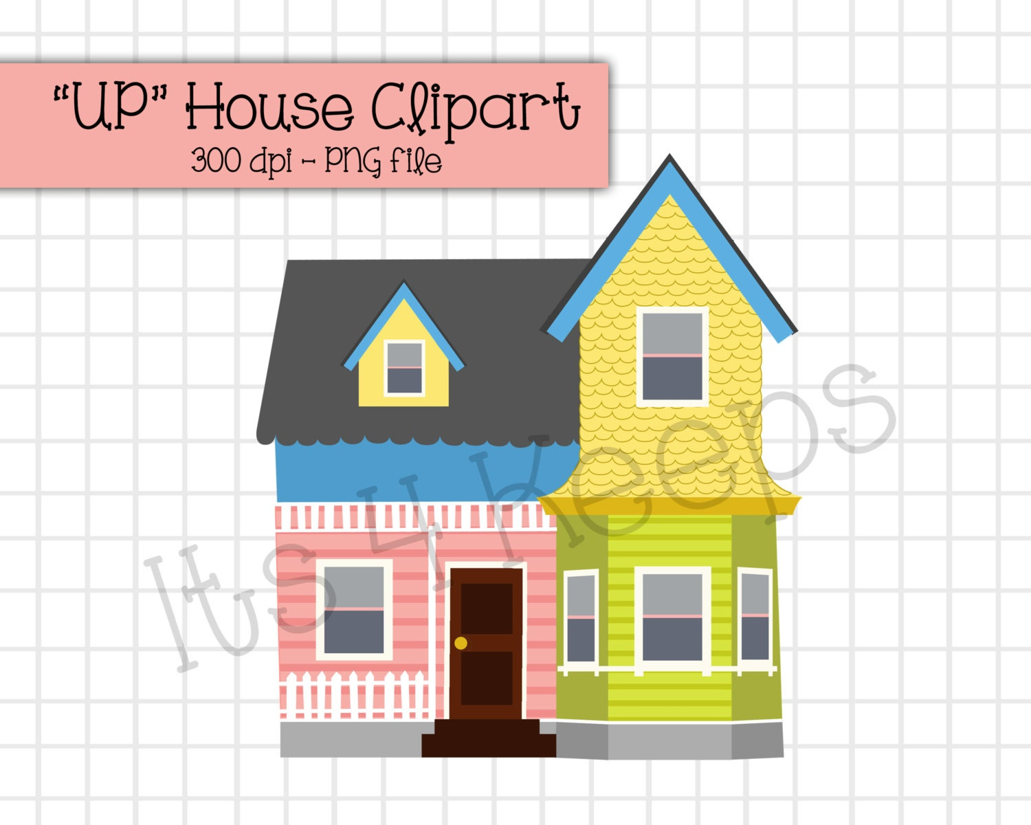 Up House Clipart Instant Download Png