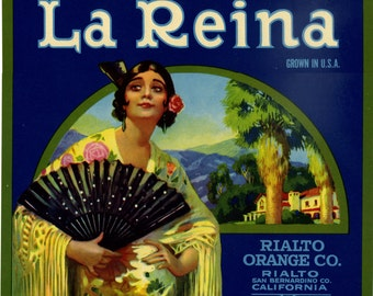 La Reina Orange Crate label San Bernadino California