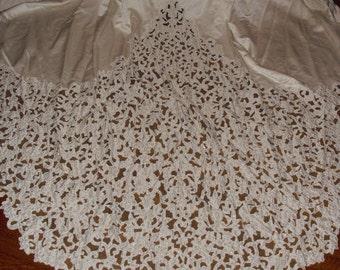 Vintage Designer Oleg Cassini Lace and satin Pearl White Wedding Gown long Amazing Train