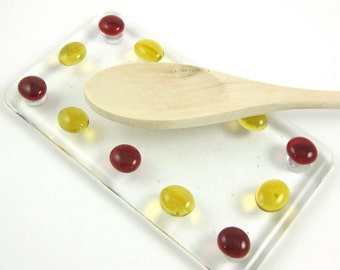 Glass Spoon Rest - Fused Glass Red and Amber Dots