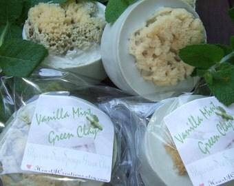 VANILLA MINT -- French Green CLAY Glycerin Sea Sponge Soap