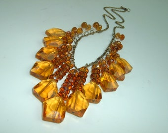 SALE Bohemian, Gypsy, Brilliant Grade AAA Golden Citrine Quartz Necklace with Amber Crystals on Brass Chain