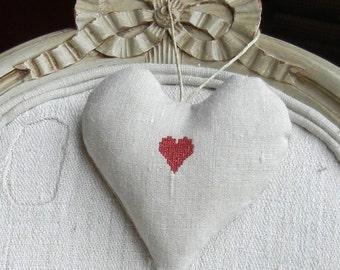 Antique Linen Heart Sachet - Heart on Heart  - Valentine