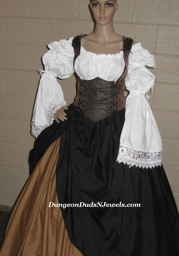 DDNJ U Design 4pc Reversible Corset Style Bodice Chemise Skirts Plus Custom Made Any Size Renaissance Anime Steampunk  Cosplay Pirate Gypsy