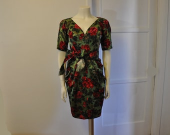 1950s dress / Vintage 50s James Galanos Rose Print Dress