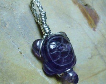 Amethyst Turtle Carving Sterling Silver Wire Pendant
