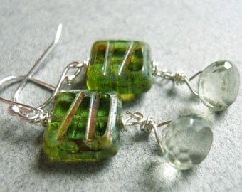 Into the Fall Green amethyst and czech glass earrings