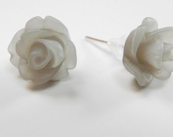Earrings Frosted Grey Roses Gray Ear Posts Silver Tone Earstuds Studs Frosted Rose Flower Earrings