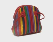 1980s purse / vintage 80s purse / leather / Candy Stripes Rainbow Leather Purse