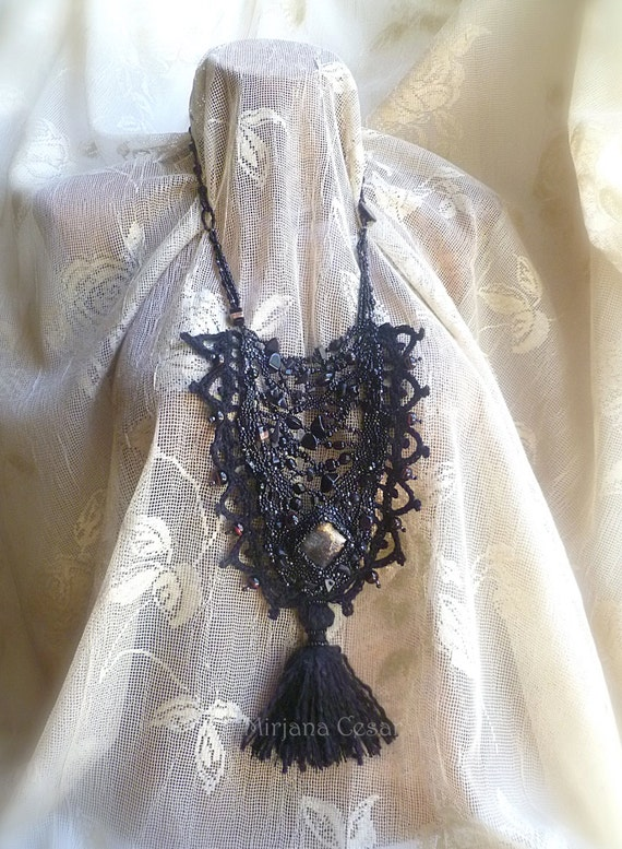 Black gypsy forest necklace, wearable art bohemian necklace, tribal, free form peyote stitch, mixed media necklace, Coachella, tassel, black