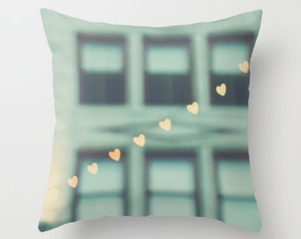 pillow cover, decorative throw pillow, hearts, gold bokeh, romantic home decor, blue holiday sparkle love, 20x20 pillow, baby room, under 40