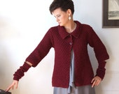 Marsala CARDIGAN hand knitted   / cropped cardigan / swing cardigan / wine red, marsala cardigan with arm warmers / baby doll sweater