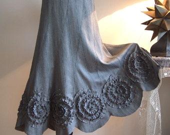 Skirt with rosettes in slate with gray pinstripes, prairie skirt, office skirt, fall autumn skirt, boho skirt, romantic skirt, unique skirt