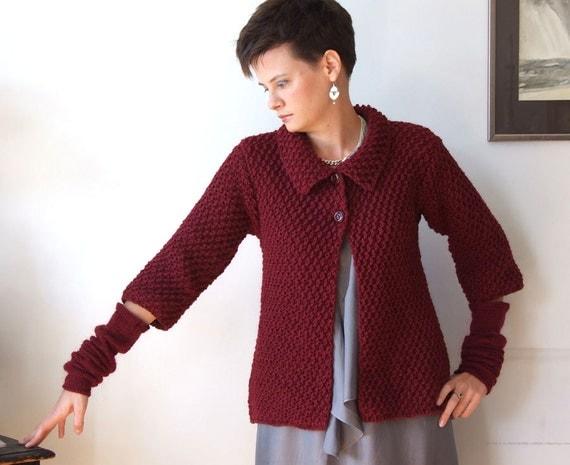 Marsala cardigan hand knitted / cropped cardigan / swing