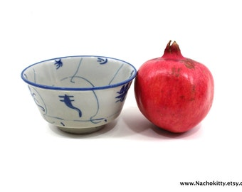1800s Japanese Footed Rice Bowl, Blue Hand Painted