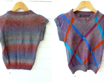 Vintage 80s Woven Rainbow Blend Sweater