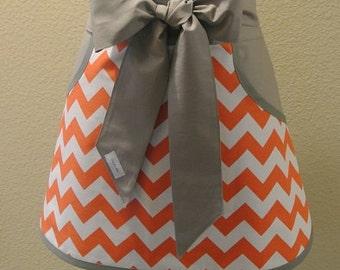 Orange Chevron with Gray Pockets and Ties Adult Half Apron
