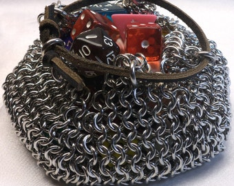 Chainmaille Dice Bag with Drawstring, drawstring pouch, coin purse, rpg, d&d, dungeons and dragons, games, gamer, gaming, dice pouch