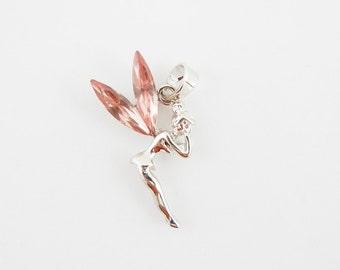 Pink Rhinestone Winged Fairy Pendant Silver-tone