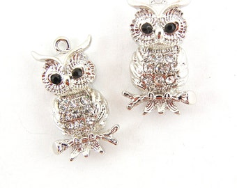 Pair of Rhinestone Encrusted Owl on Branches Charms