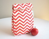 Coral Chevron Organic Lunch Bag - Organic Cotton, Eco Friendly, Fully Insulated - Back to School Waste Free