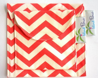 Coral Chevron Sandwich and Snack Bags, Reusable, Organic Cotton, Eco Friendly - Set of 2 - Back to School
