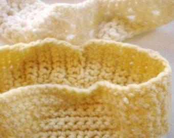 SALE vintage corn yellow and bone white crocheted yarn headbands set of 2